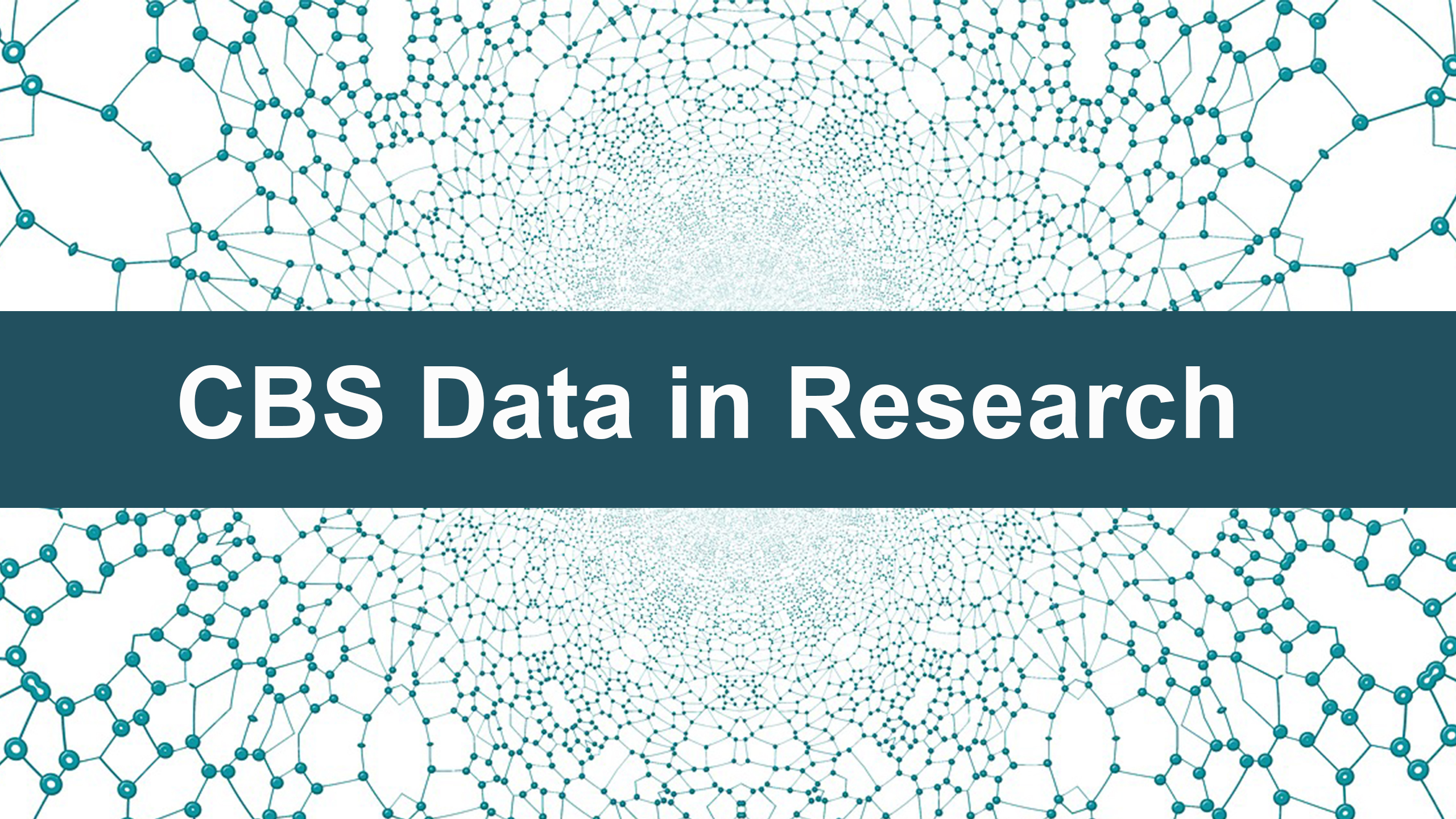 """Design conveying connectivity with text that says """"CBS Data in Research"""""""