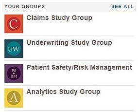 Image of some of the subgroups within the CBS Community that includes: Claims Study Group, Underwriting Study Group, Patient Safety/Risk Management, and Analytics Study Group.