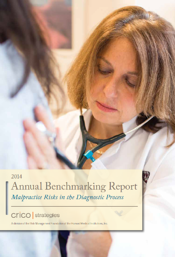Image of report cover, Malpractice Risks in the Diagnostic Process, showing a doctor listening to a patient's breathing using a stethescoe