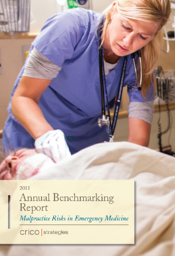 Image of report cover, Malpractice Risks in Emergency Medicine, that shows a  clinician wearing blue scrubs working on a patient who is lying down
