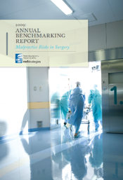 Image of report cover, Malpractice Risks in Surgery, showing clinicians pushing a gurney through a hospital hallway