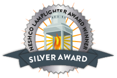 Illustration of the NESCHO Lamplighter Award Winner Silver Award Badge